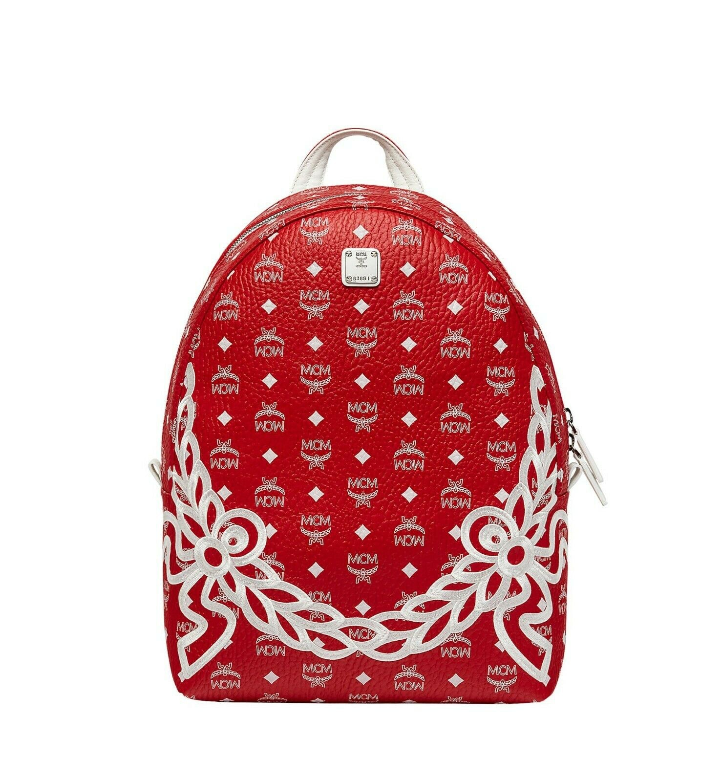 MCM Dietrich Laurel Backpack Visetos White Logo Medium Ruby Red