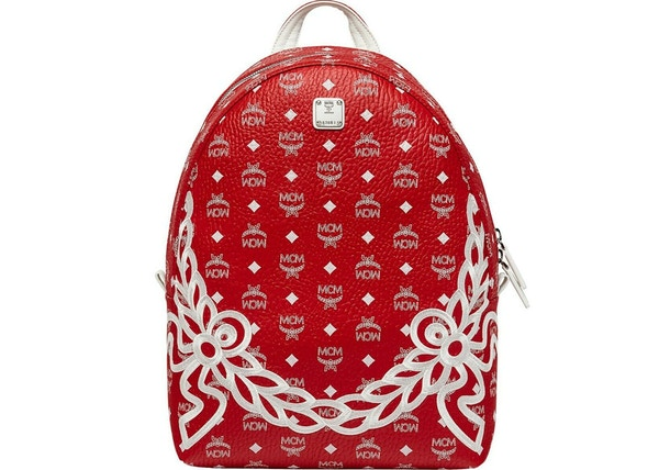 eaf2709aab56 MCM Dietrich Laurel Backpack Visetos White Logo Medium Ruby Red