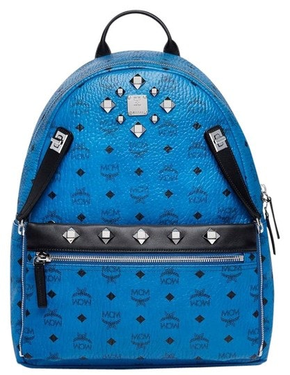 MCM Dual Stark Backpack Medium Stud Munich Blue