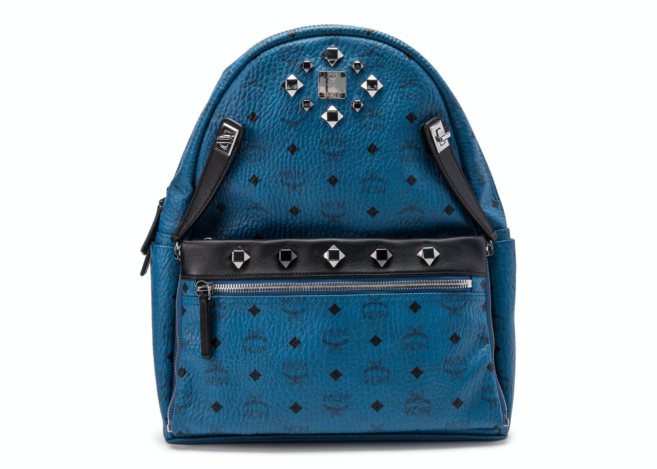 MCM Dual Stark Backpack Visetos Studded Small Blue Black