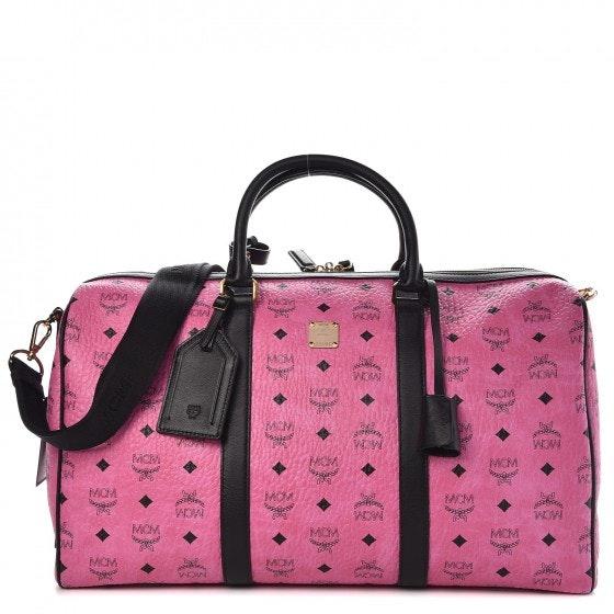 MCM Traveler Weekender Visetos Medium Pink