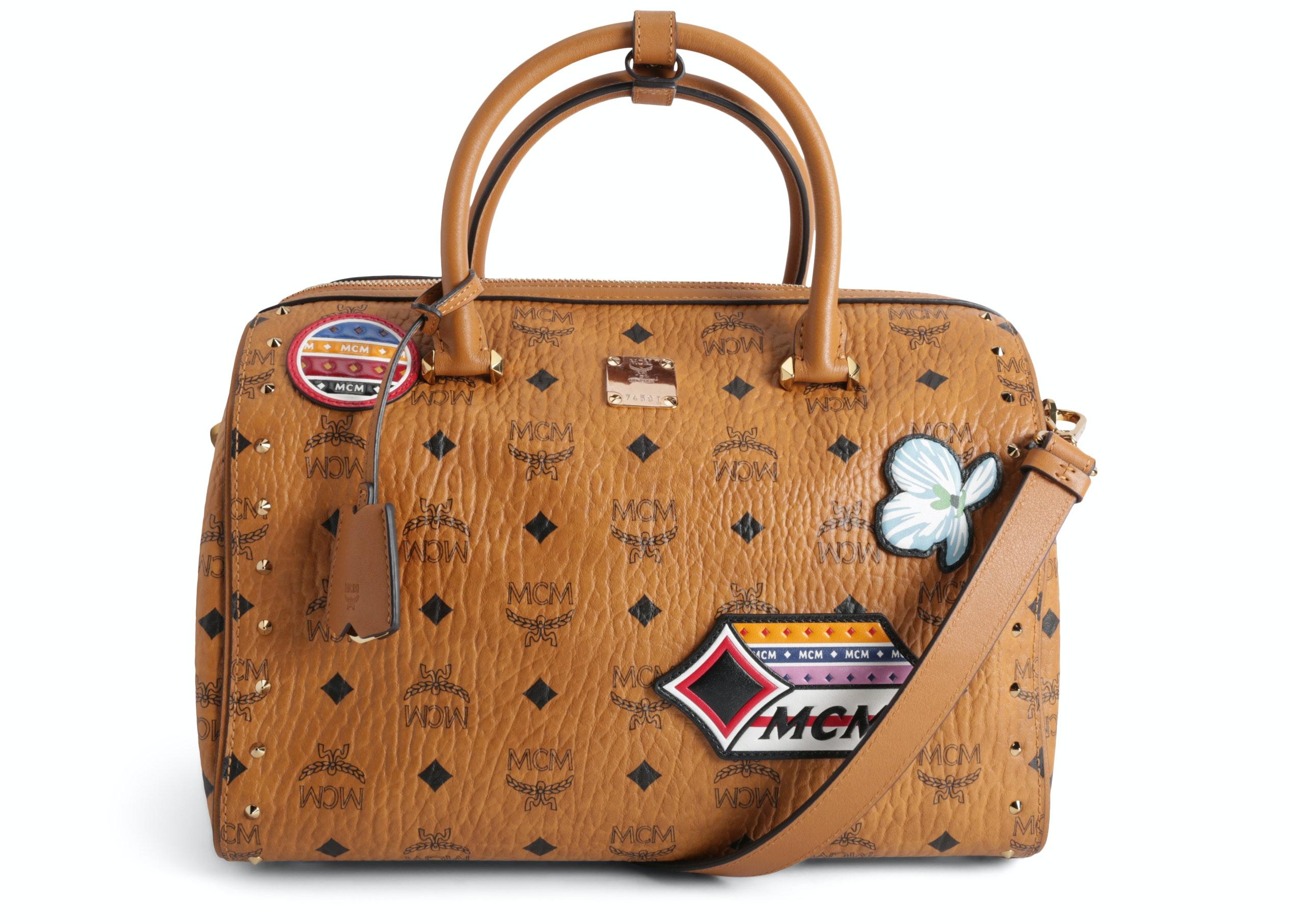 MCM Essential Boston Bag Visetos Victory Patches Cognac