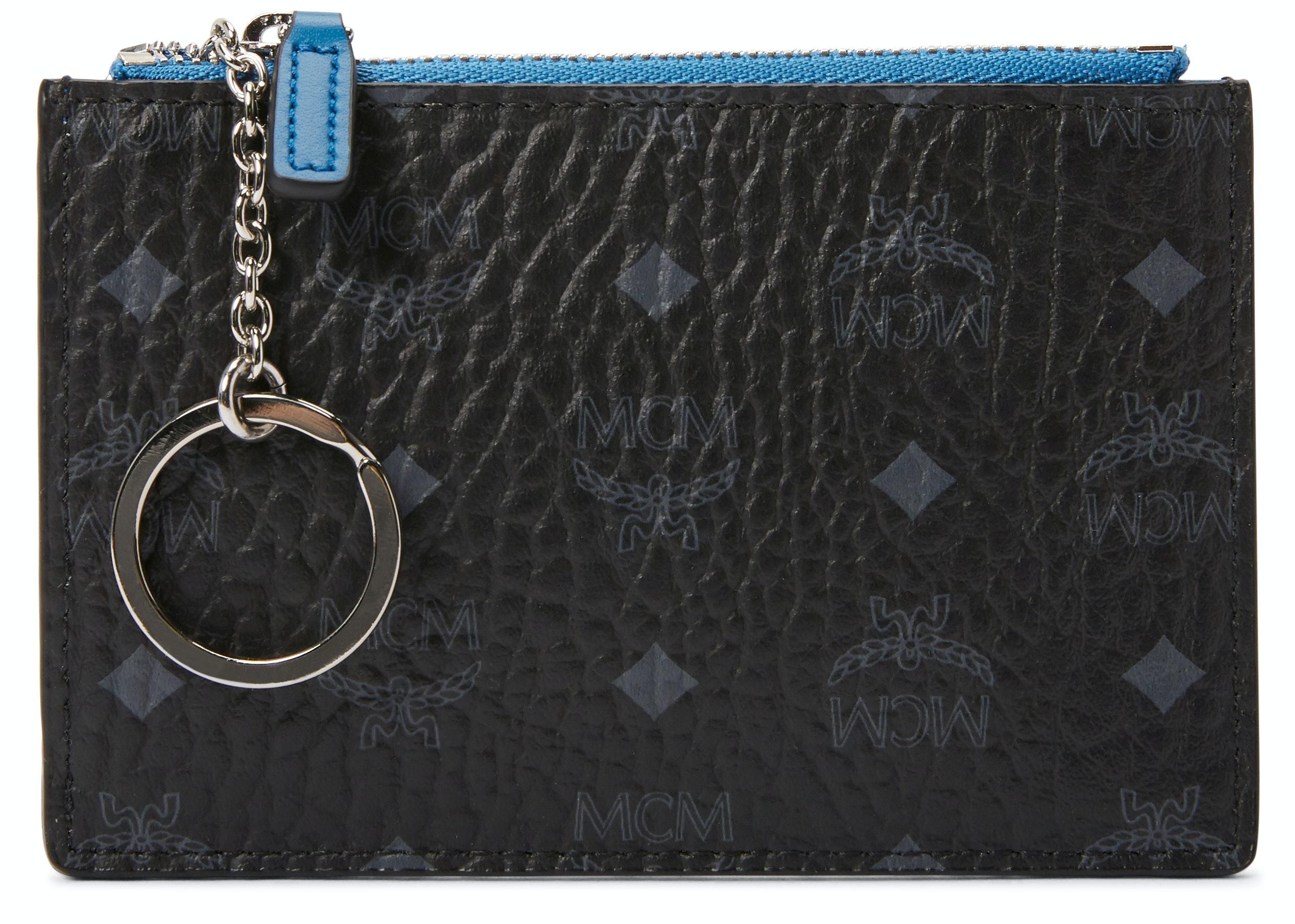 MCM Key Pouch Visetos Blue Contrast Small Black