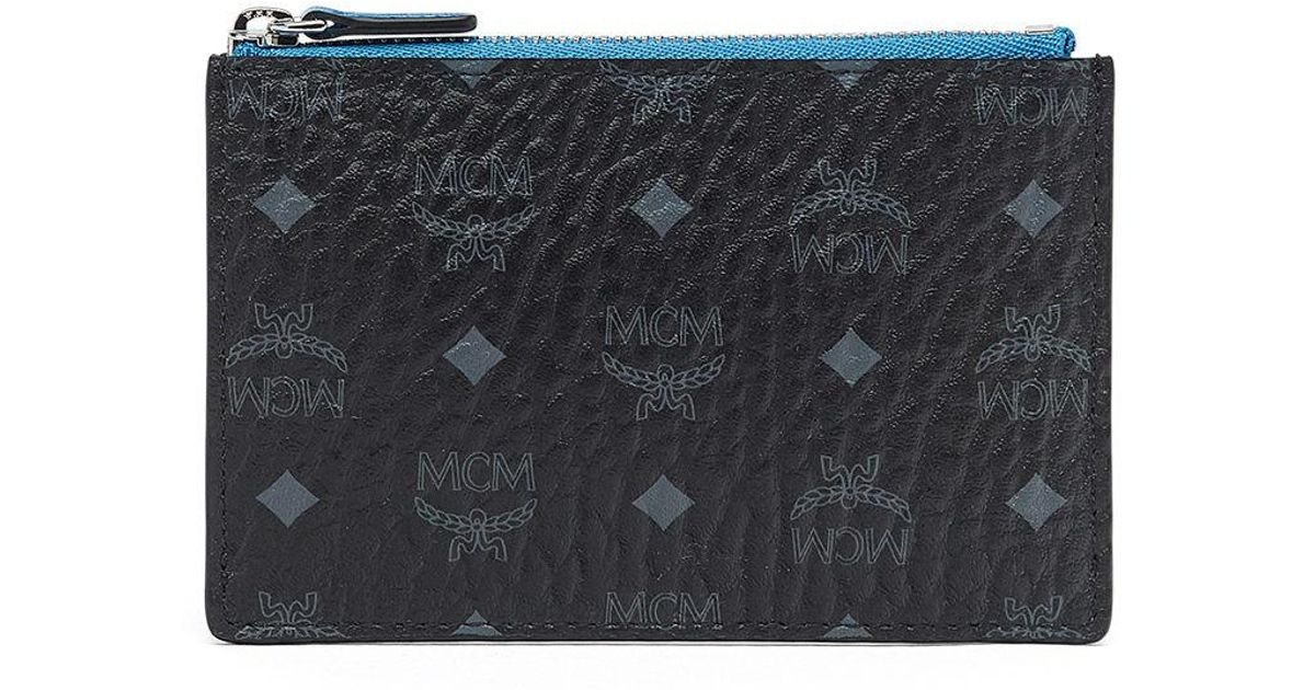 MCM Key Pouch Visetos Blue Contrast Small Black