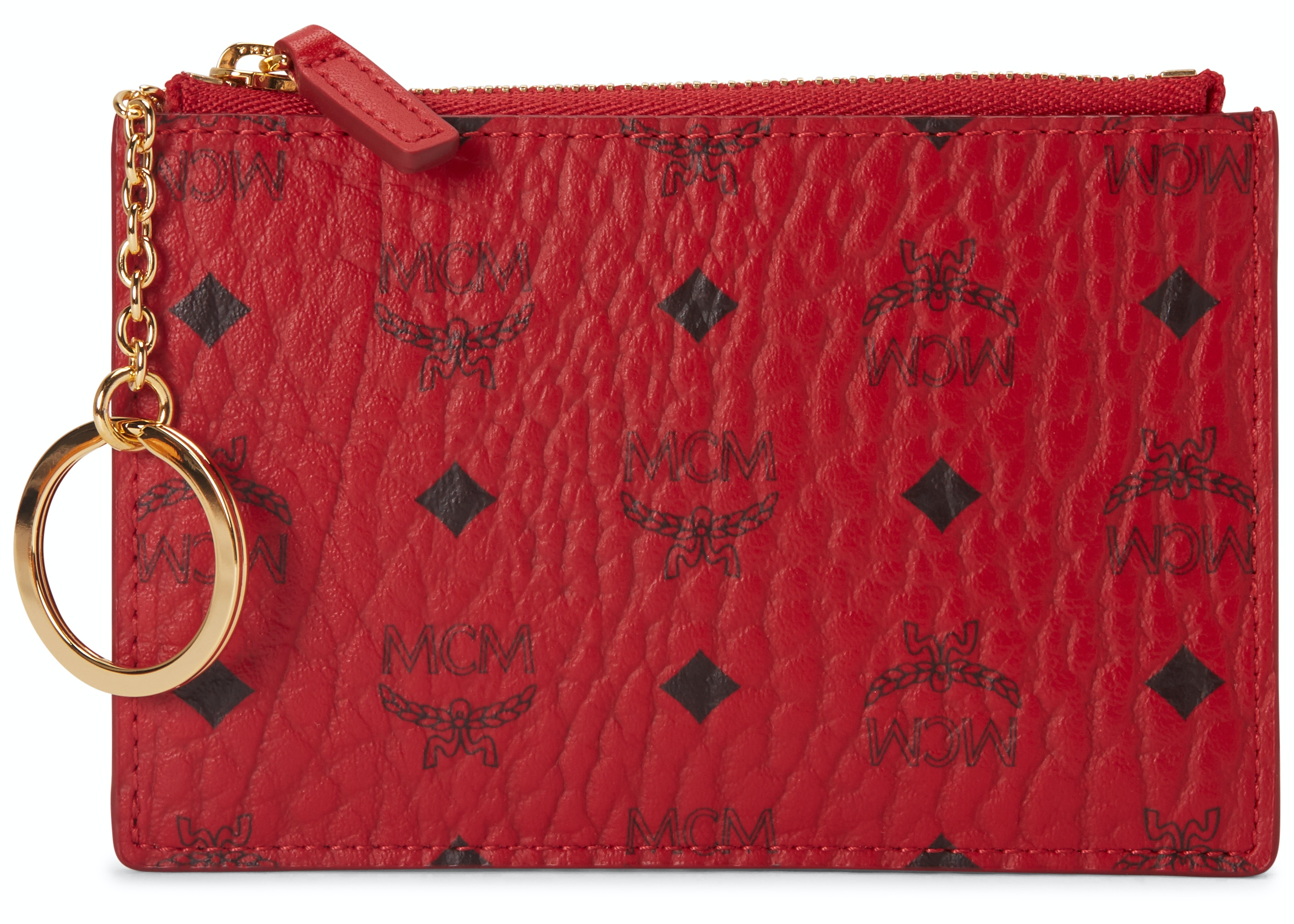 MCM Key Pouch Visetos Mini Ruby Red
