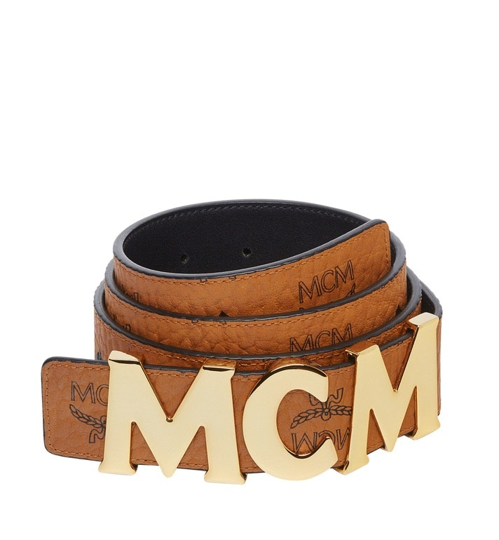 MCM Letter Belt Visetos 1.5W 47In/120Cm Cognac