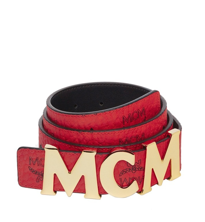 MCM Letter Belt Visetos 1.5W 51In/130Cm Ruby Red