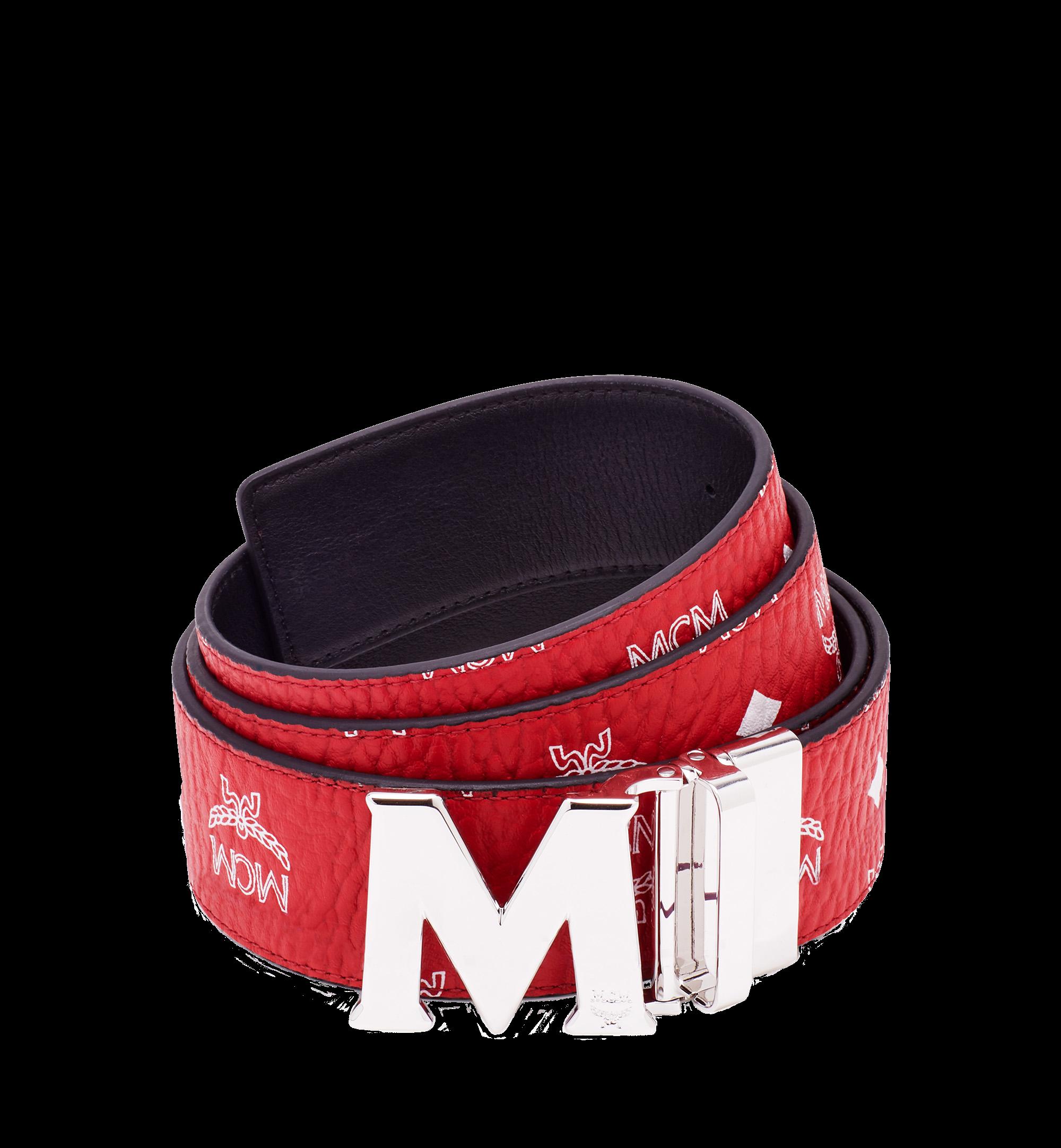 MCM M Reversible Belt Visetos White Logo 1.75W 51In/130Cm Ruby Red