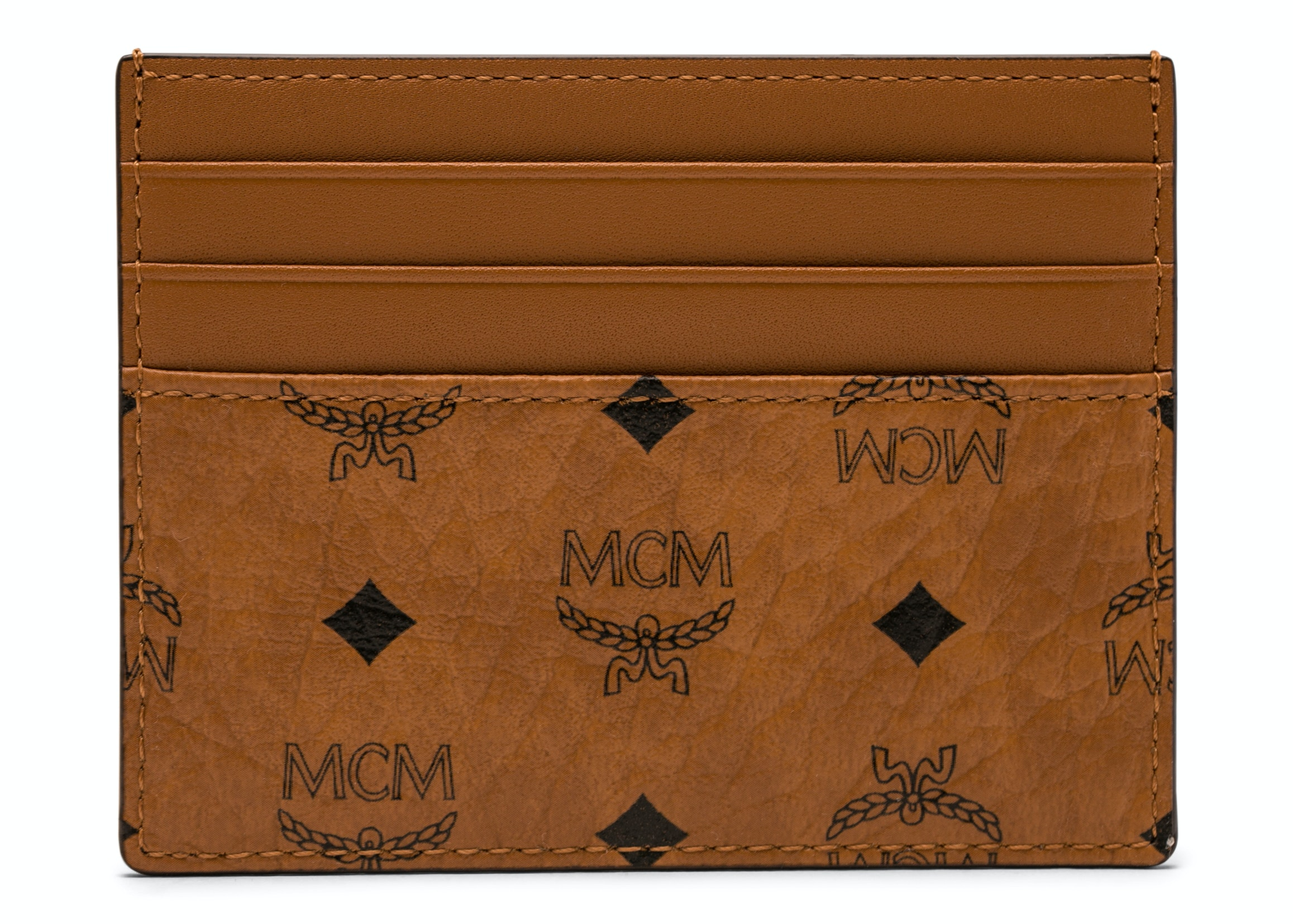 MCM Money Clip Card Case Visetos Mini Cognac