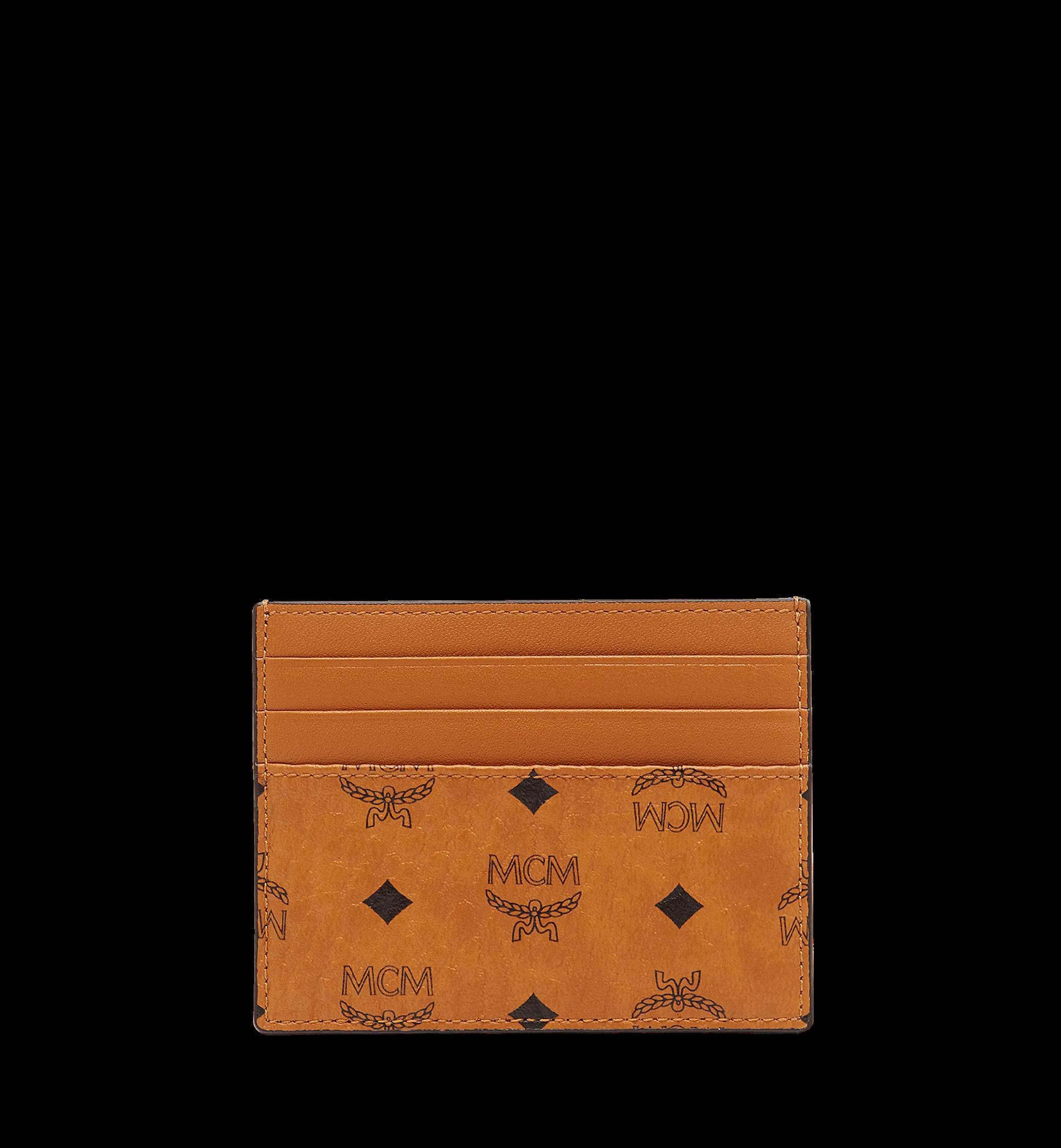 MCM Money Clip Card Case Visetos Mini Cognac