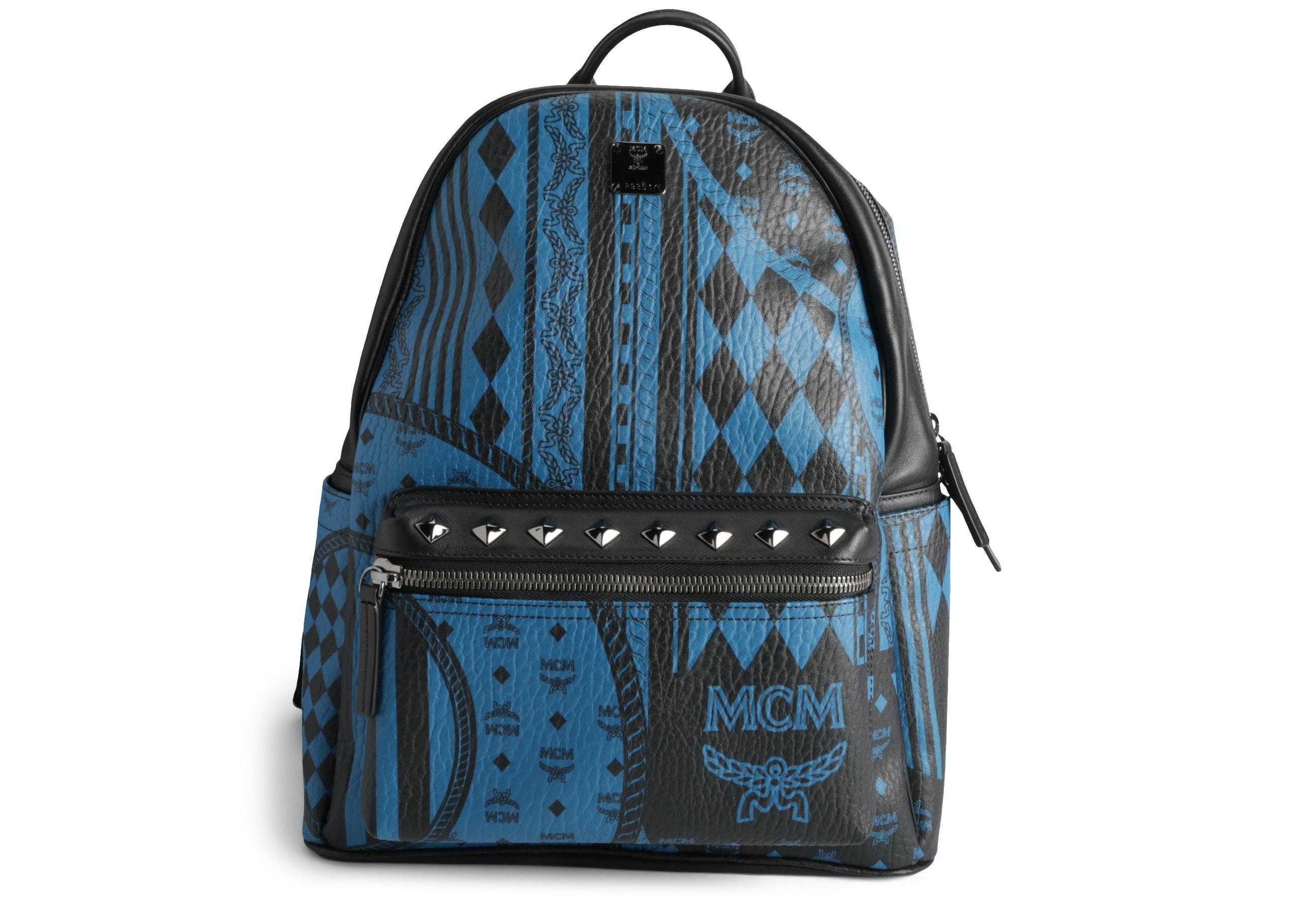 MCM Stark Backpack Baroque Visetos Studded Large Blue Black