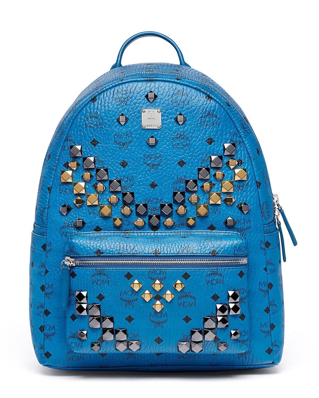 MCM Stark Backpack Stud Medium Munich Blue