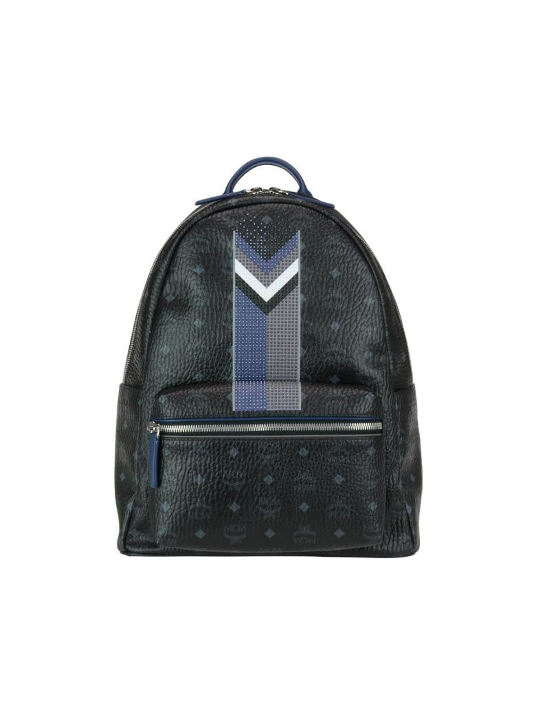 MCM Stark Backpack Visetos Chevron Stripe Medium Black