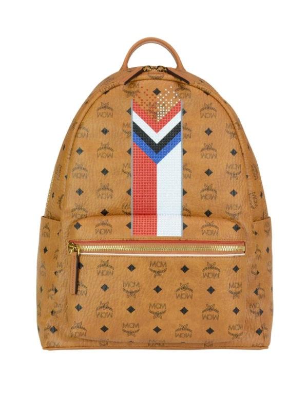 MCM Stark Backpack Visetos Chevron Stripe Medium Cognac