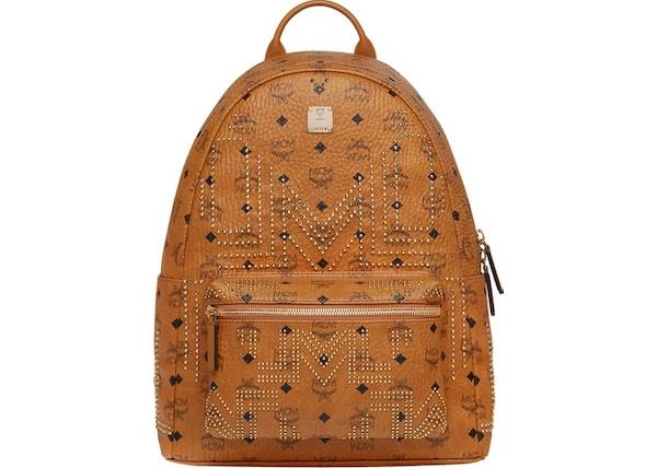 2faf88593d0bb MCM Stark Backpack Visetos Gunta M Studs Medium Cognac