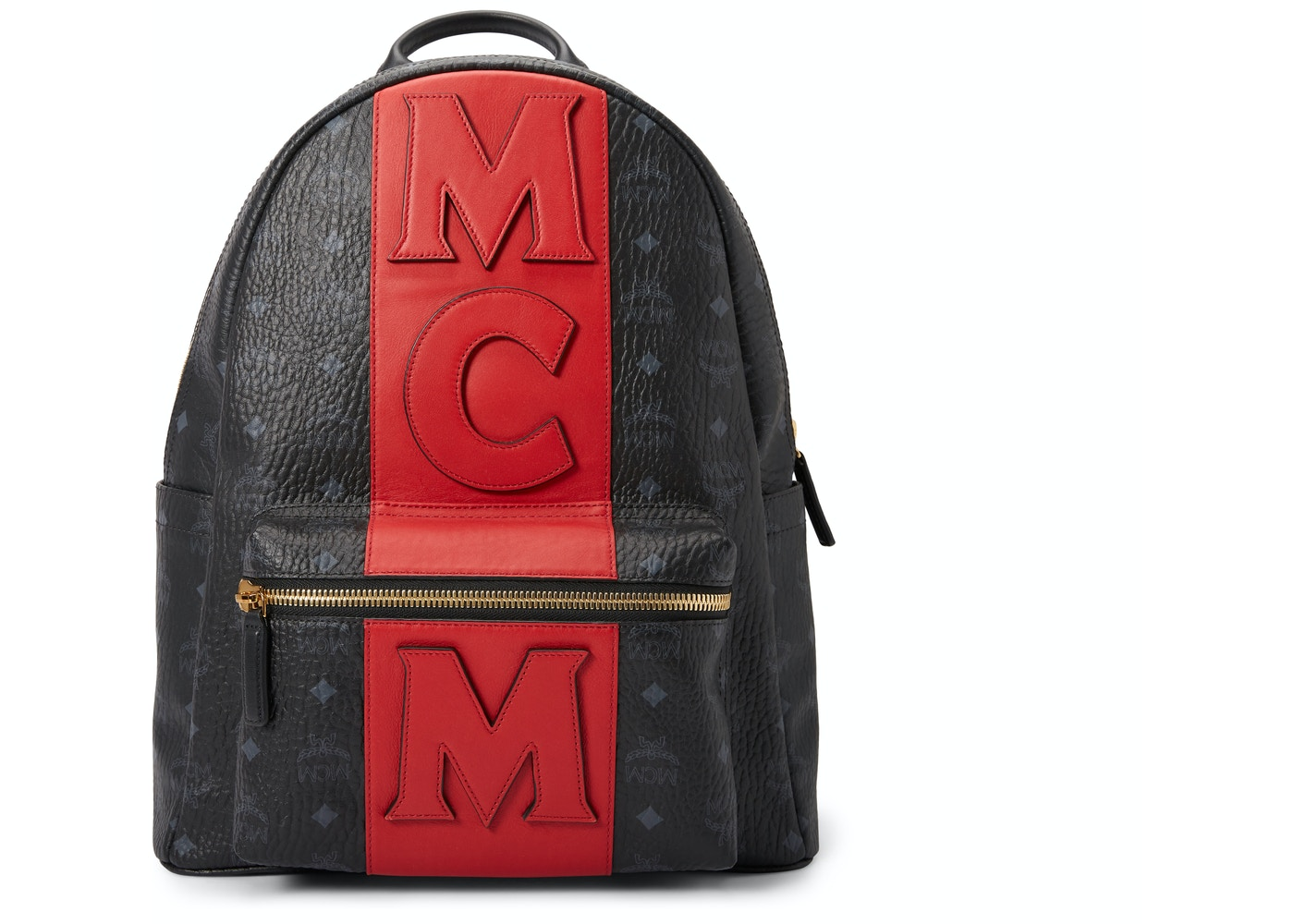 a1ce26bdf38b0f MCM Stark Backpack Visetos Logo Stripe Black Red. Visetos Logo Stripe Black  Red