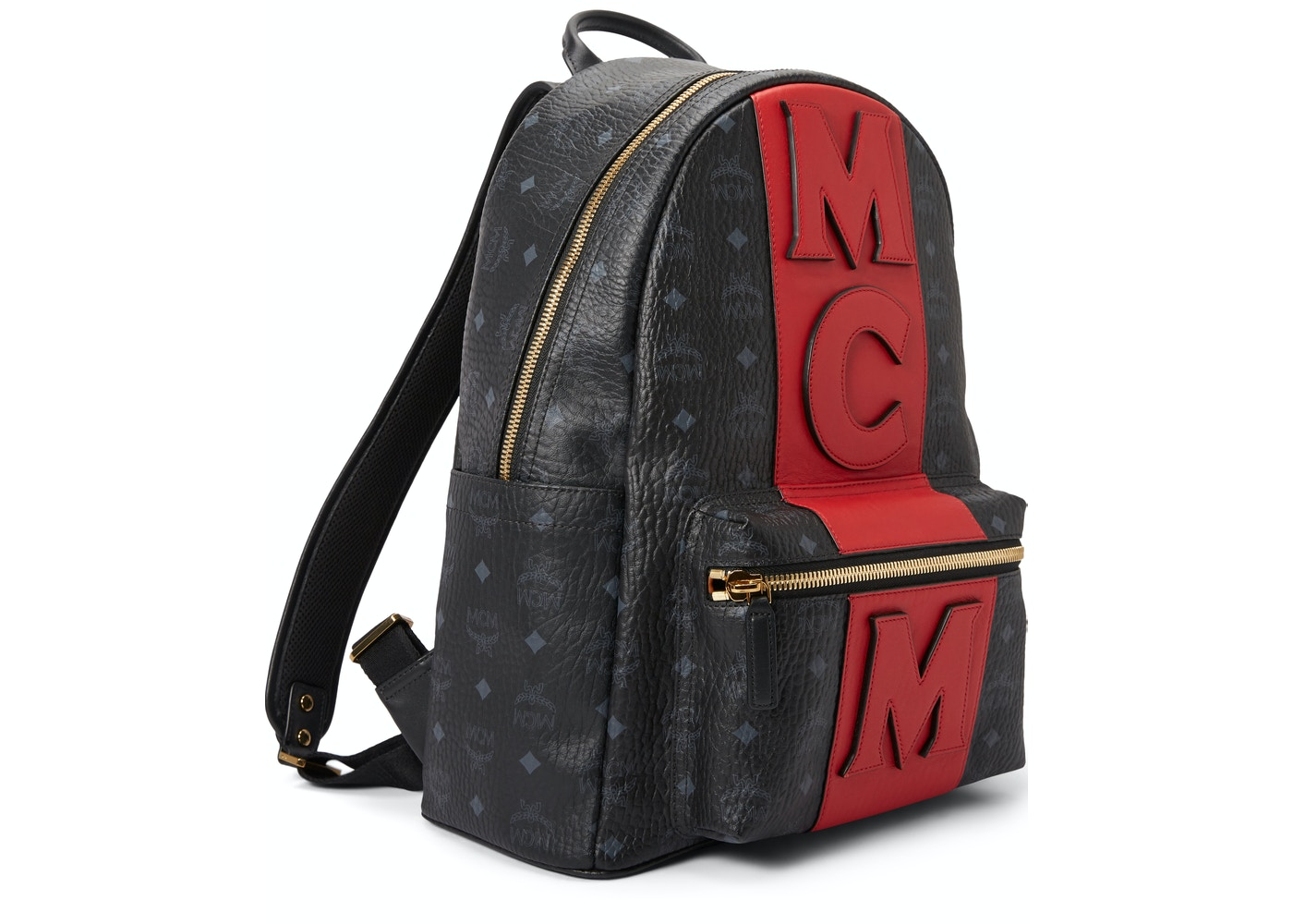 ddccda90fa249d MCM Stark Backpack Visetos Logo Stripe Black Red