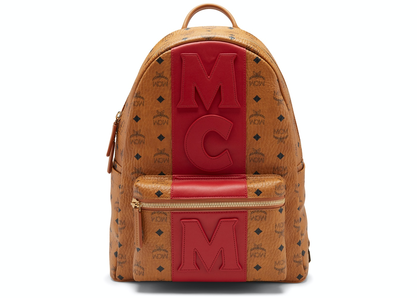 dda9a03f533b2a MCM Stark Backpack Visetos Logo Stripe Medium Cognac Red. Visetos Logo  Stripe Medium Cognac Red