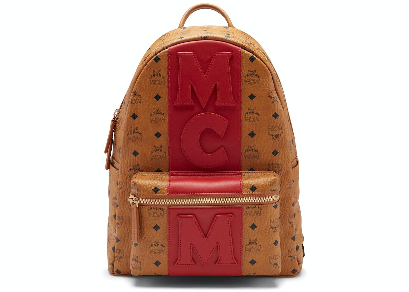 0004b95a0 MCM Stark Backpack Visetos Logo Stripe Medium Cognac/Red