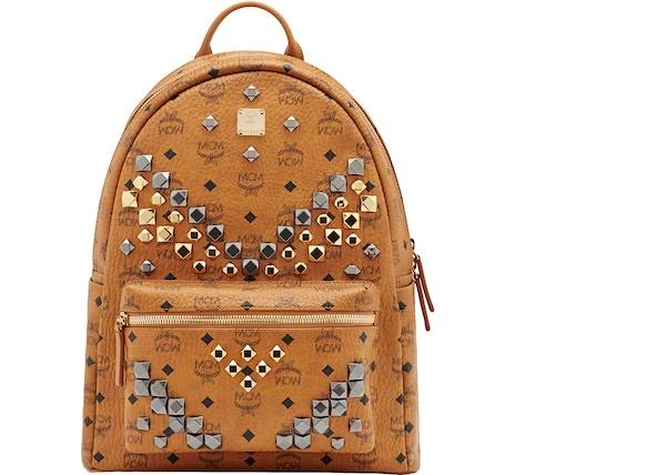 27350fe4046c8 MCM Stark Backpack Visetos M Studs Medium Cognac