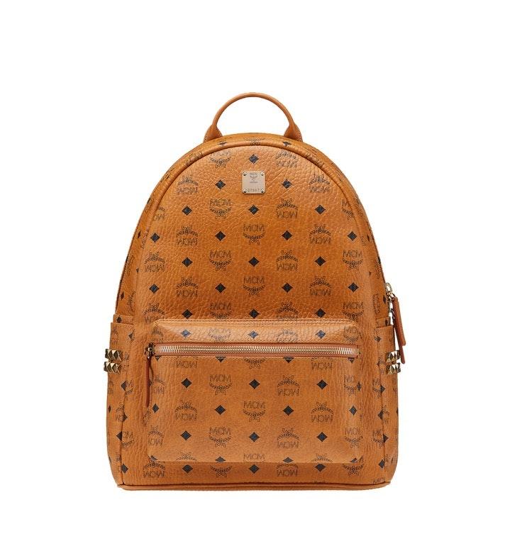 MCM Stark Backpack Visetos Side Studs Medium Cognac