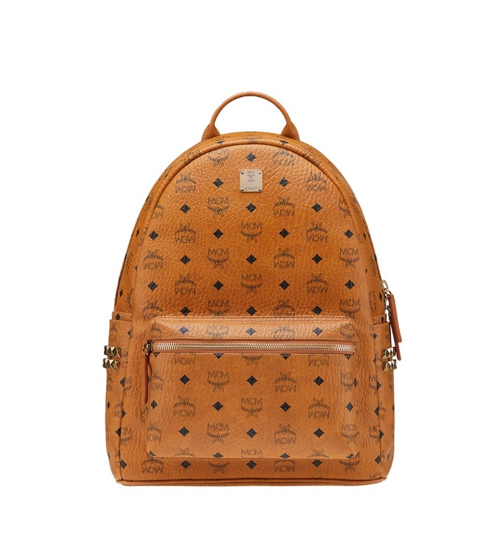 MCM Stark Backpack Visetos Side Studs Medium Cognac