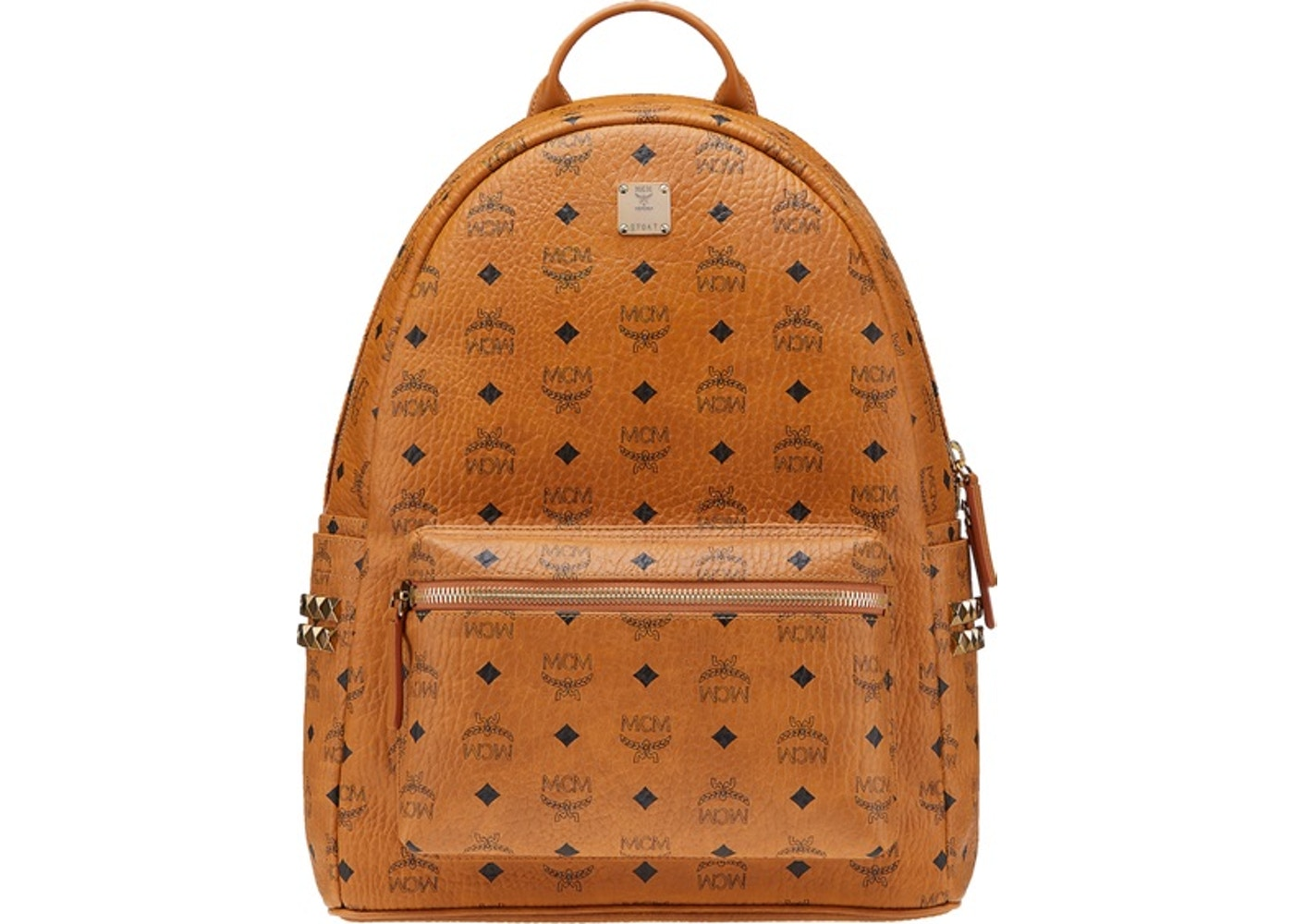 8580213a8452 MCM Stark Backpack Visetos Side Studs Medium Cognac