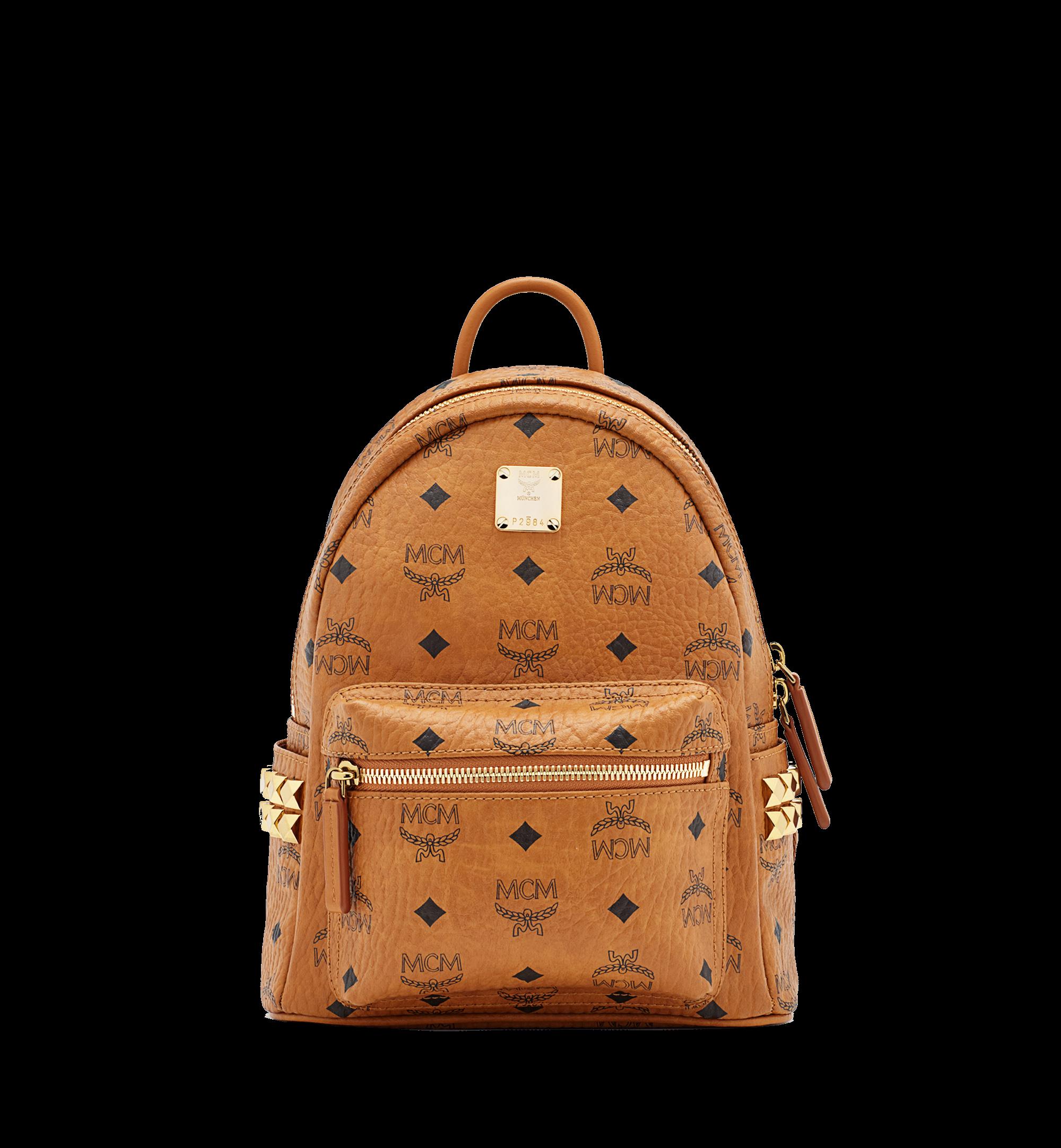 MCM Stark Backpack Visetos Side Studs Mini Cognac