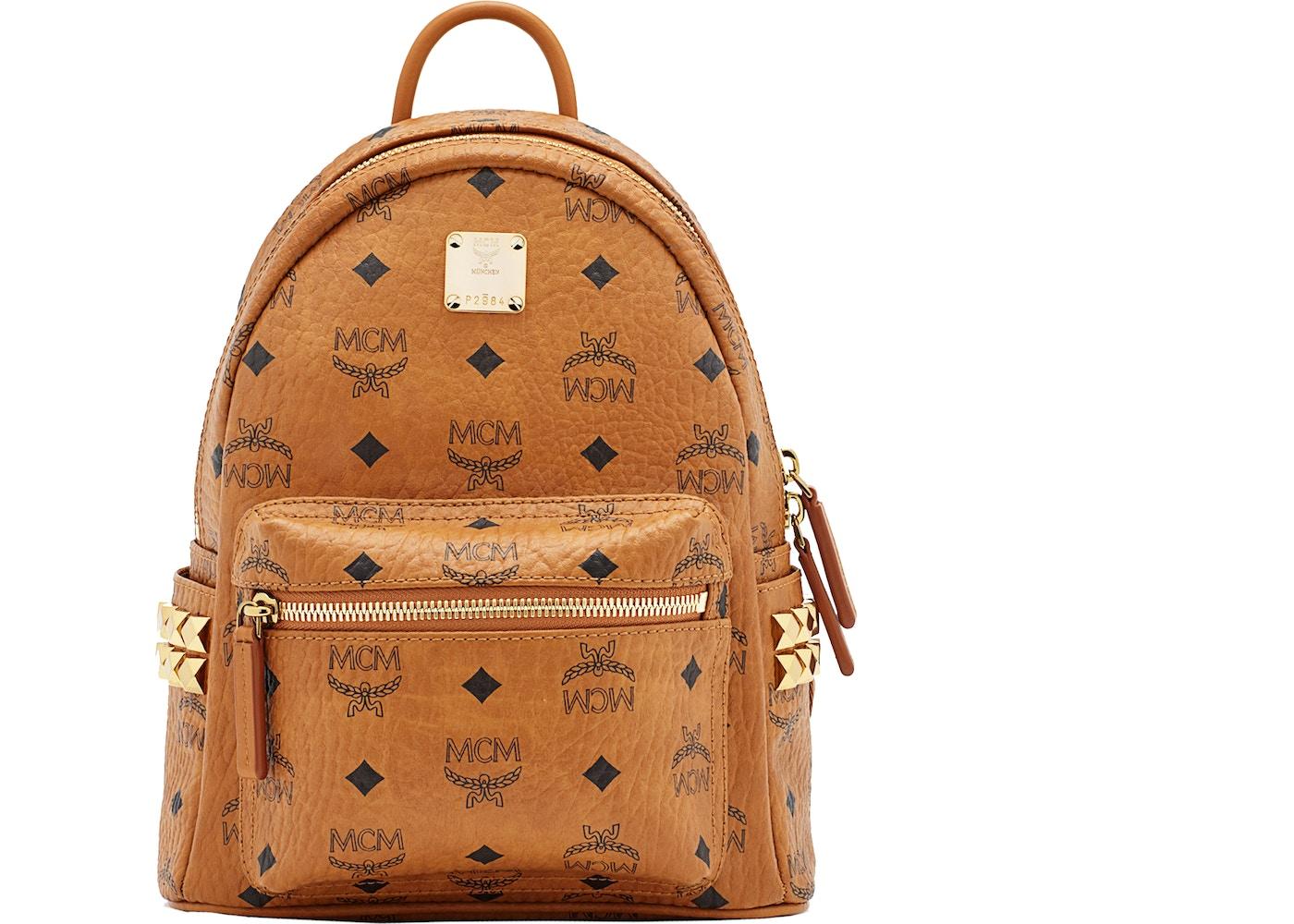 f1817af471c3 MCM Stark Backpack Visetos Side Studs Mini Cognac