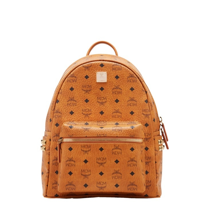 MCM Stark Backpack Visetos Side Studs Small/Medium Cognac
