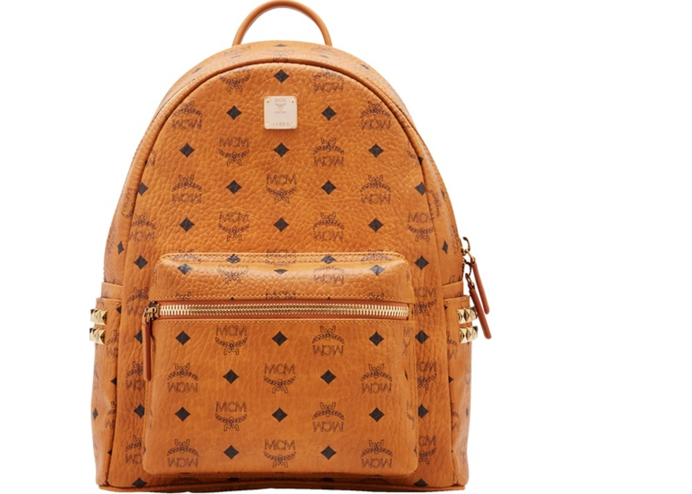 2702f4329a65 MCM Stark Backpack Visetos Side Studs Small/Medium Cognac