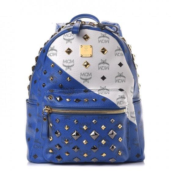 MCM Stark Backpack Visetos Studded Medium Blue White