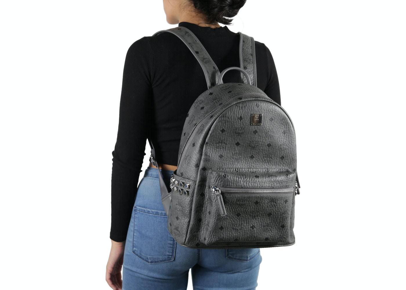 1ee54187f3f MCM Stark Backpack Visetos Side Studs Small Medium Phantom Grey