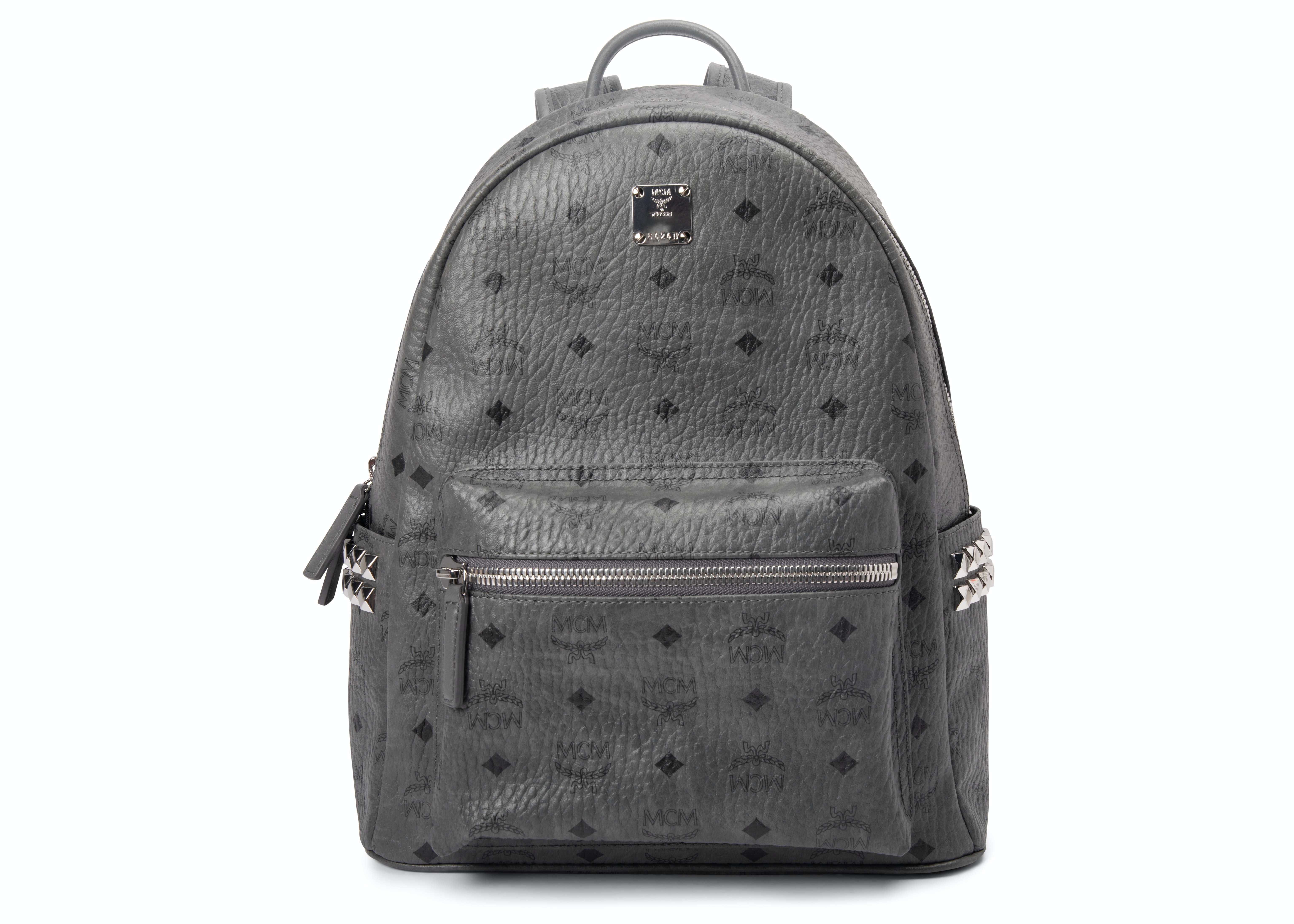 MCM Stark Backpack Visetos Side Studs Small/Medium Phantom Grey