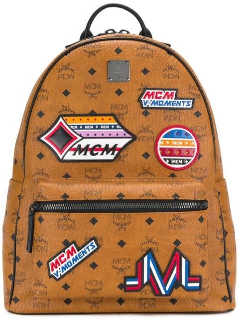 MCM Stark Backpack Visetos Victory Patches Medium Cognac