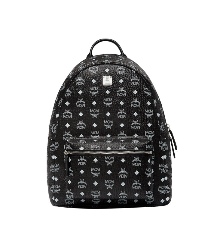 MCM Stark Backpack Visetos White Logo Medium Black
