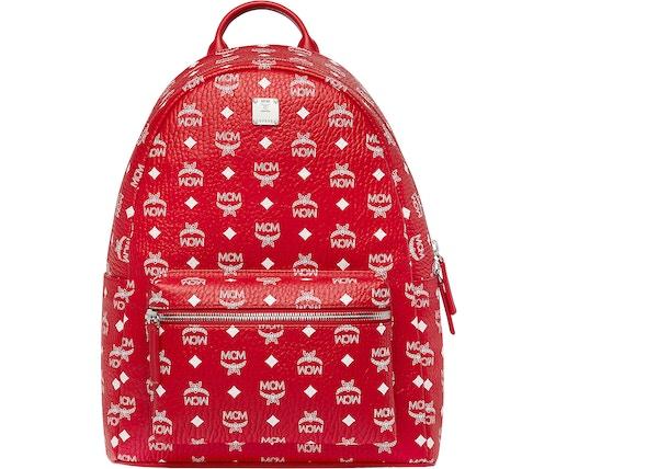 10115de85 MCM Stark Backpack Visetos White Logo Medium Ruby Red