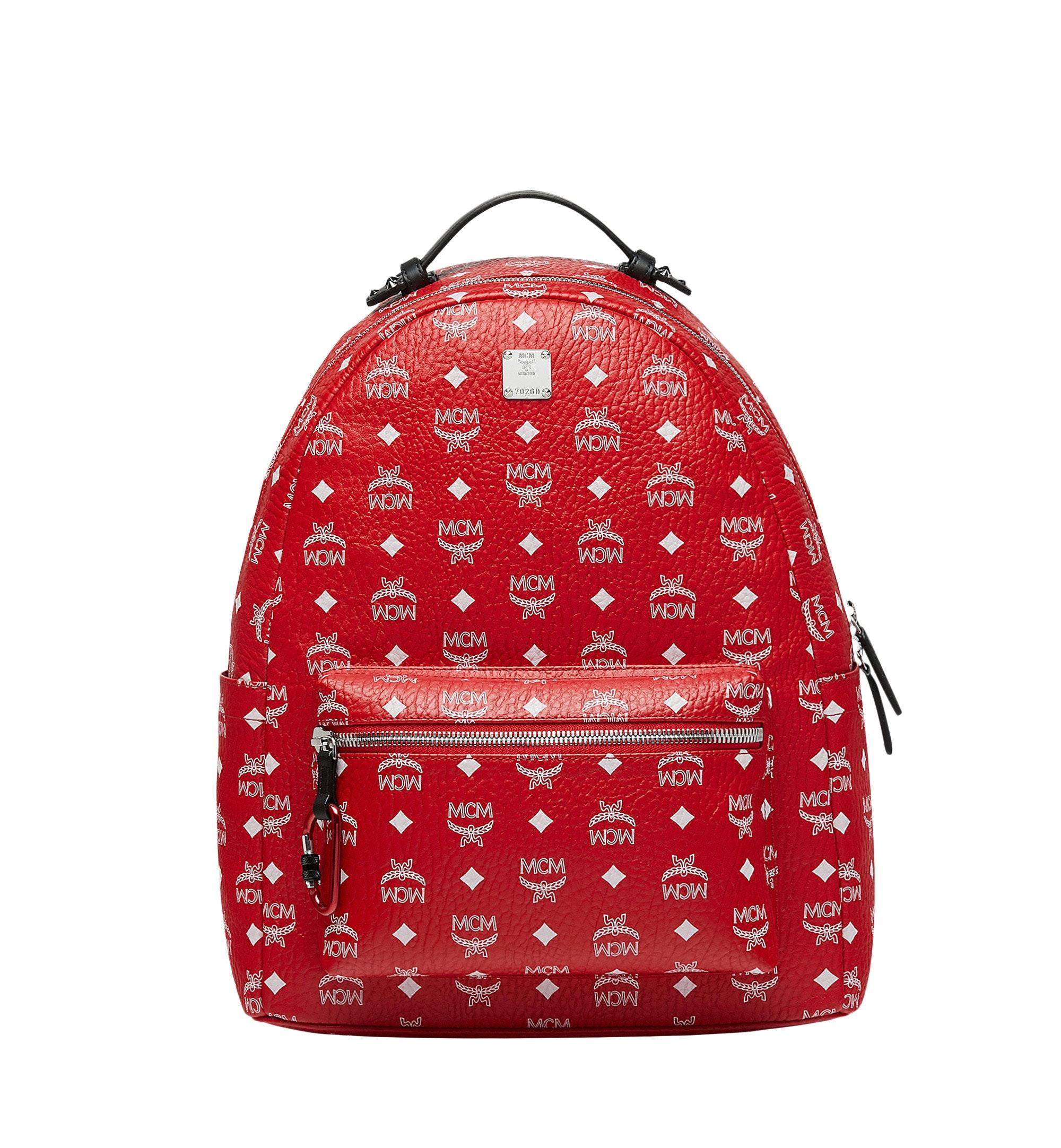 MCM Stark Backpack White Visetos Viva Red