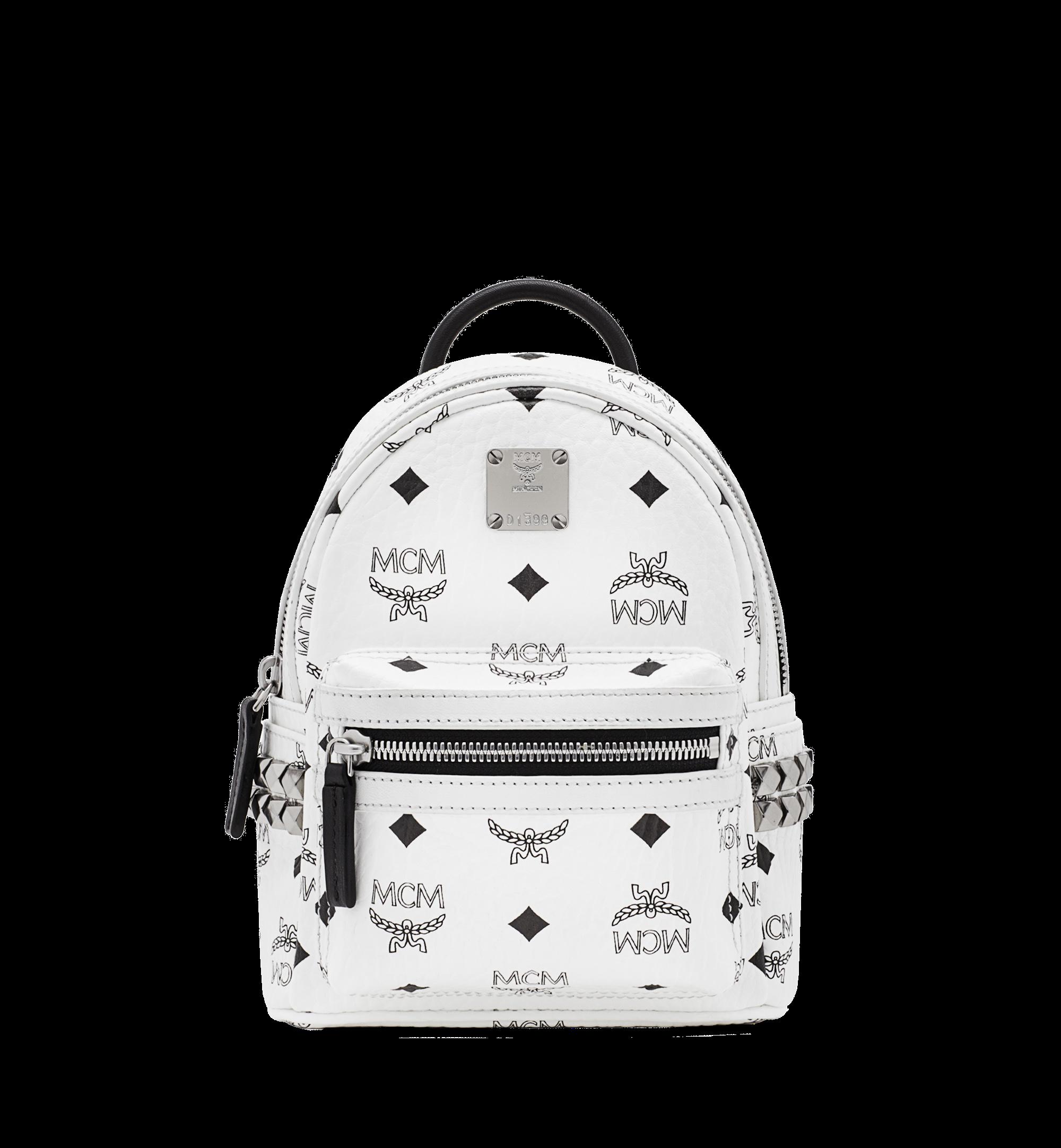 MCM Stark Bebe Boo Backpack Visetos Side Studs X-Mini White