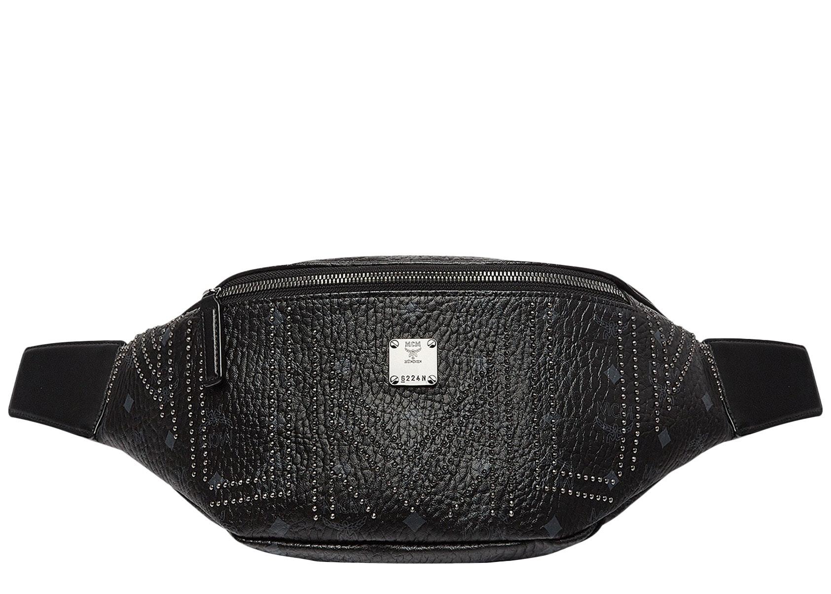 MCM Stark Belt Bag Gunta M Studs Medium Black
