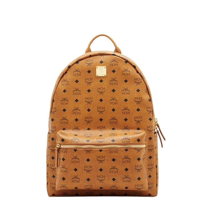 MCM Stark Classic Backpack Visetos Large Cognac