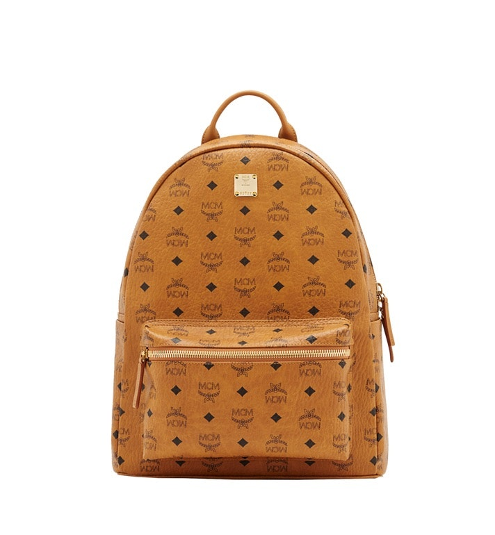 MCM Stark Classic Backpack Visetos Medium Cognac