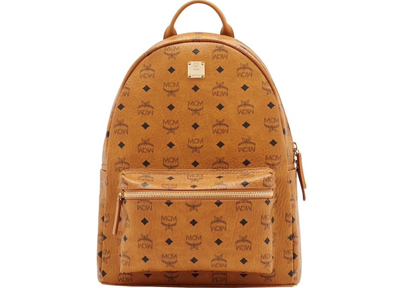 7084f417a MCM Stark Classic Backpack Visetos Medium Cognac