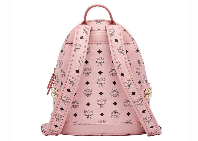 MCM Stark Side Studs Backpack Visetos Small Soft Pink