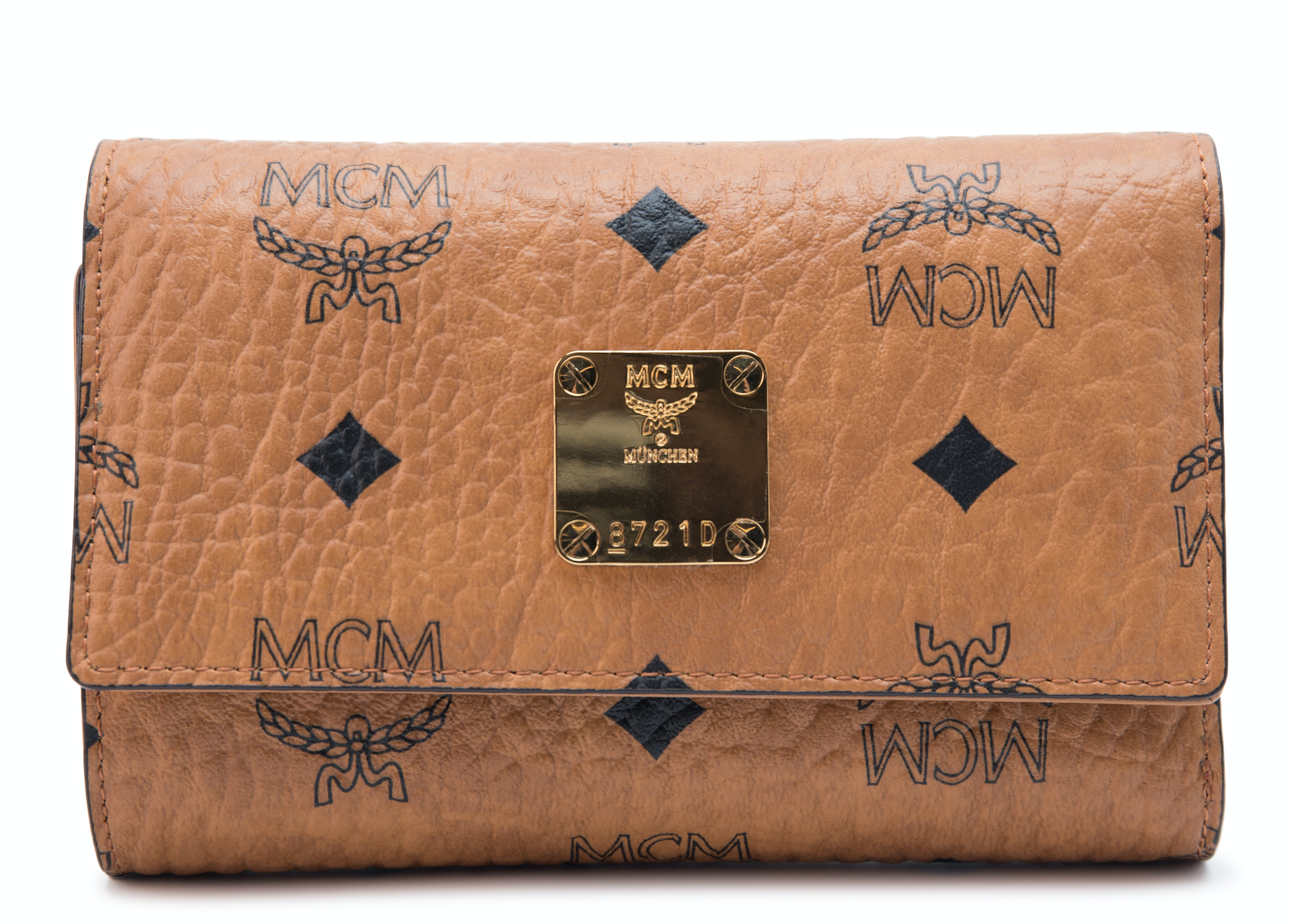 MCM Three Fold Wallet Visetos Cognac