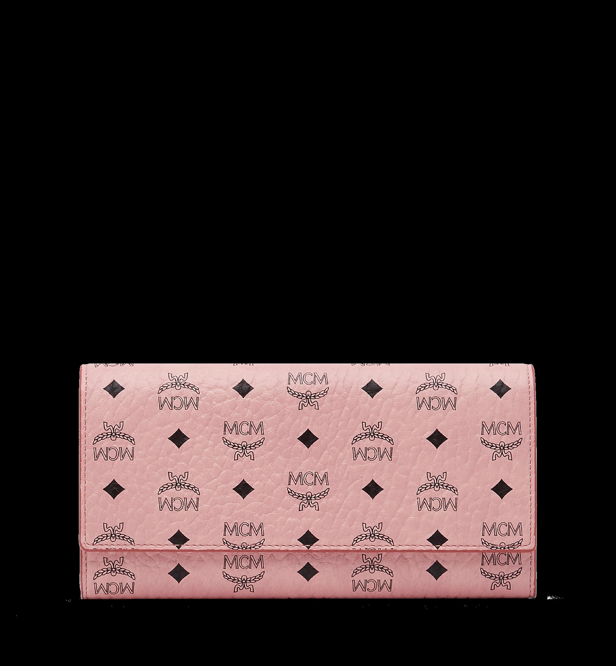 MCM Three Fold Wallet Visetos Large Soft Pink