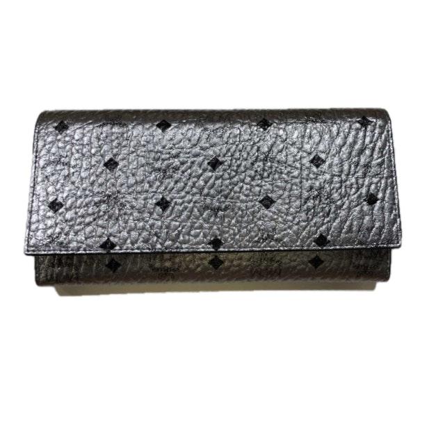 MCM Three Fold Wallet Visetos Silver