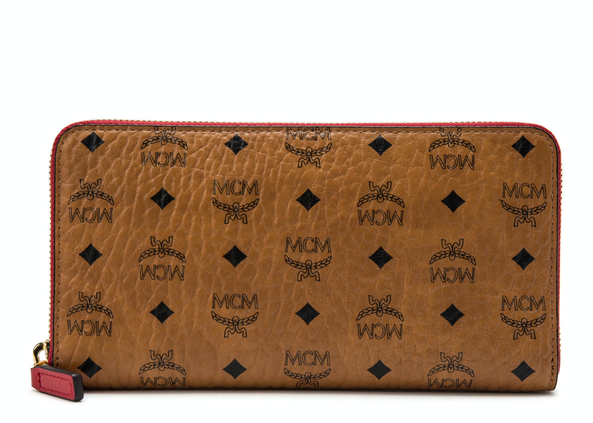 MCM Zip Around Wallet Visetos Large Cognac/Red