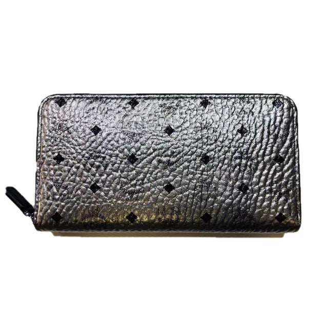 MCM Zip Around Wallet Visetos Silver