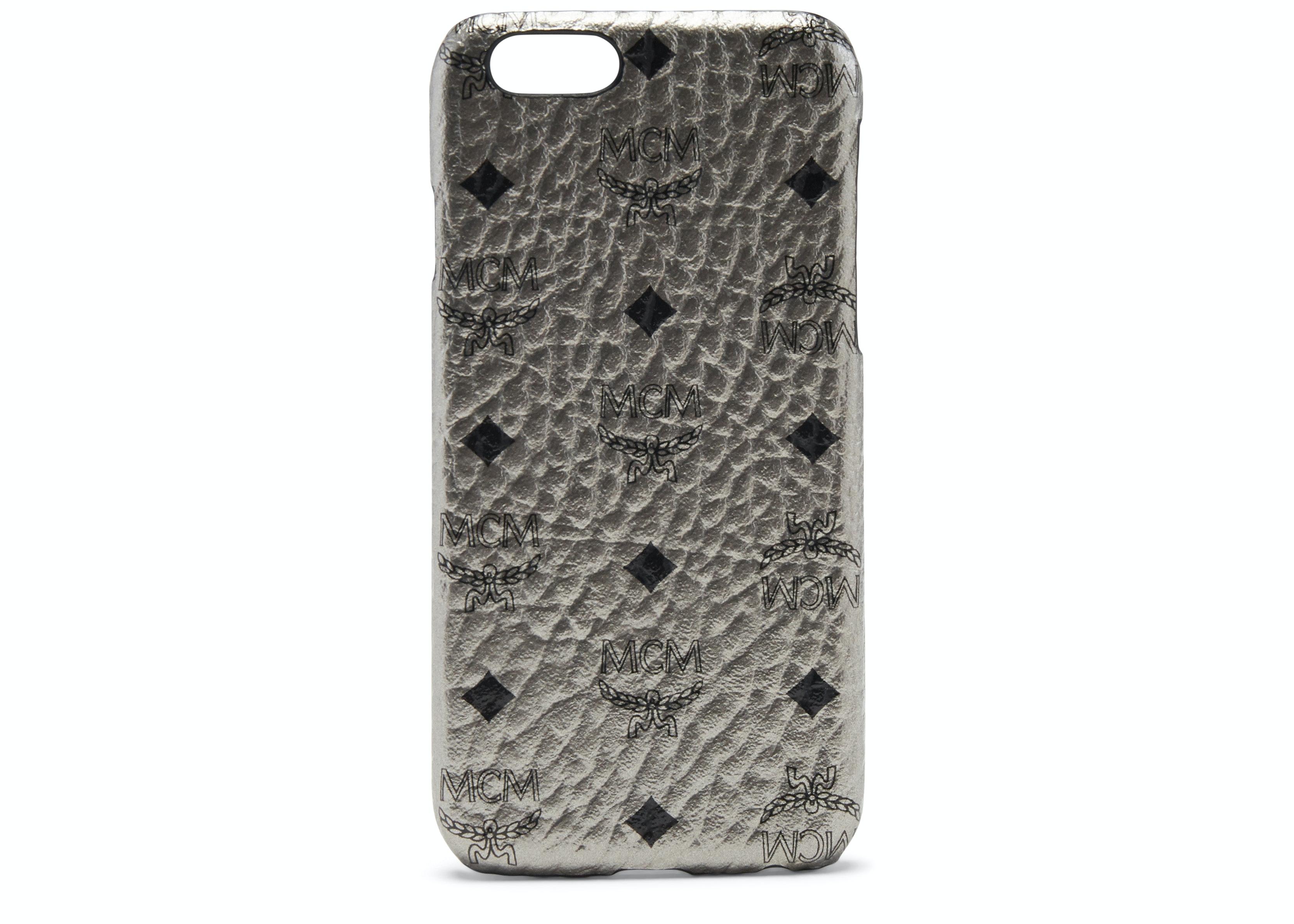 MCM iPhone Case Visetos 6S/7/8 Plus Metallic Silver
